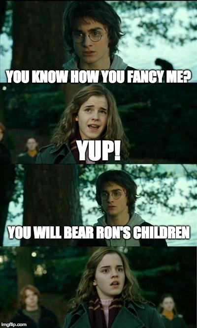 Horny Harry Meme | YOU KNOW HOW YOU FANCY ME? YUP! YOU WILL BEAR RON'S CHILDREN | image tagged in memes,horny harry | made w/ Imgflip meme maker
