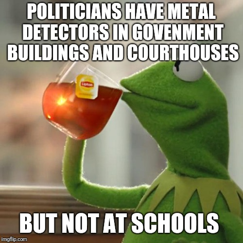 But Thats None Of My Business Meme | POLITICIANS HAVE METAL DETECTORS IN GOVENMENT BUILDINGS AND COURTHOUSES BUT NOT AT SCHOOLS | image tagged in memes,but thats none of my business,kermit the frog | made w/ Imgflip meme maker