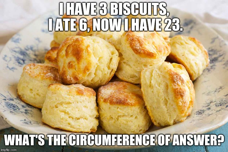 When You Think You Have Math Figured Out And You See This... | I HAVE 3 BISCUITS, I ATE 6, NOW I HAVE 23. WHAT'S THE CIRCUMFERENCE OF ANSWER? | image tagged in memes,funny,biscuits,math | made w/ Imgflip meme maker