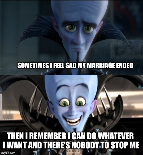 MUUUUHAHAHAHA | SOMETIMES I FEEL SAD MY MARRIAGE ENDED THEN I REMEMBER I CAN DO WHATEVER I WANT AND THERE'S NOBODY TO STOP ME | image tagged in memes,marriage,divorce | made w/ Imgflip meme maker