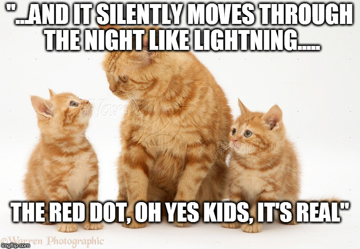 """...AND IT SILENTLY MOVES THROUGH THE NIGHT LIKE LIGHTNING..... THE RED DOT, OH YES KIDS, IT'S REAL"" 