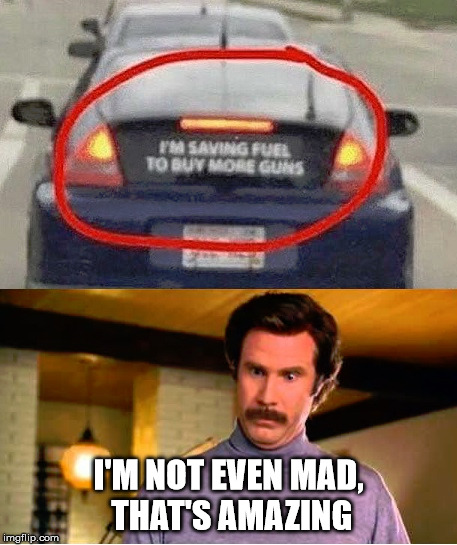 Not Mad | I'M NOT EVEN MAD, THAT'S AMAZING | image tagged in guns,ron burgundy | made w/ Imgflip meme maker