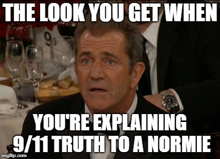9/11 Truth Shock | THE LOOK YOU GET WHEN YOU'RE EXPLAINING 9/11 TRUTH TO A NORMIE | image tagged in memes,confused mel gibson,9/11 truth movement,george bush,normie,conspiracy | made w/ Imgflip meme maker