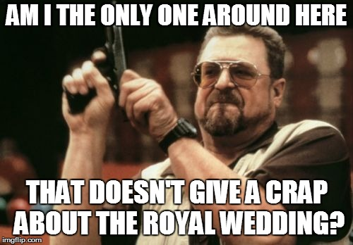 Am I The Only One Around Here Meme | AM I THE ONLY ONE AROUND HERE THAT DOESN'T GIVE A CRAP ABOUT THE ROYAL WEDDING? | image tagged in memes,am i the only one around here | made w/ Imgflip meme maker