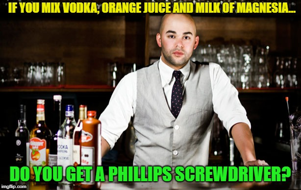 Make me one with everything. | IF YOU MIX VODKA, ORANGE JUICE AND MILK OF MAGNESIA... DO YOU GET A PHILLIPS SCREWDRIVER? | image tagged in bar tender,memes,funny,drinking | made w/ Imgflip meme maker