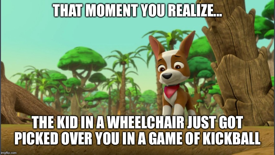 THAT MOMENT YOU REALIZE... THE KID IN A WHEELCHAIR JUST GOT PICKED OVER YOU IN A GAME OF KICKBALL | image tagged in paw patrol tracker reacting to something | made w/ Imgflip meme maker