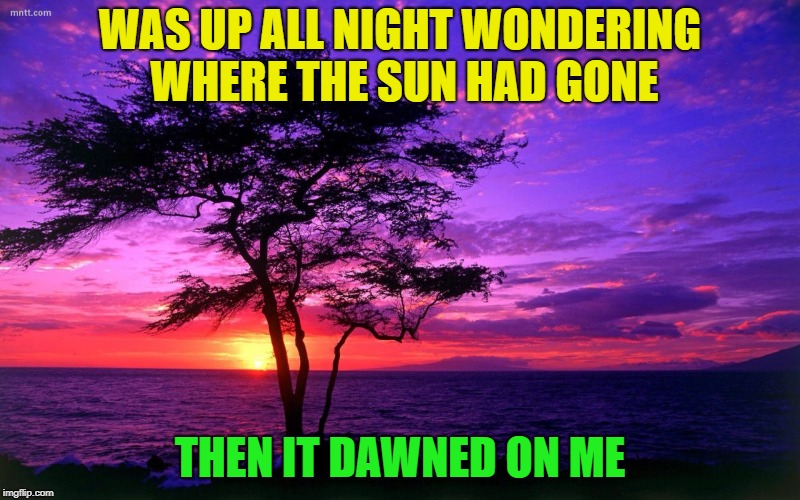 All night long? | WAS UP ALL NIGHT WONDERING WHERE THE SUN HAD GONE THEN IT DAWNED ON ME | image tagged in sunrise purple beauty,memes,funny,puns,bad pun | made w/ Imgflip meme maker