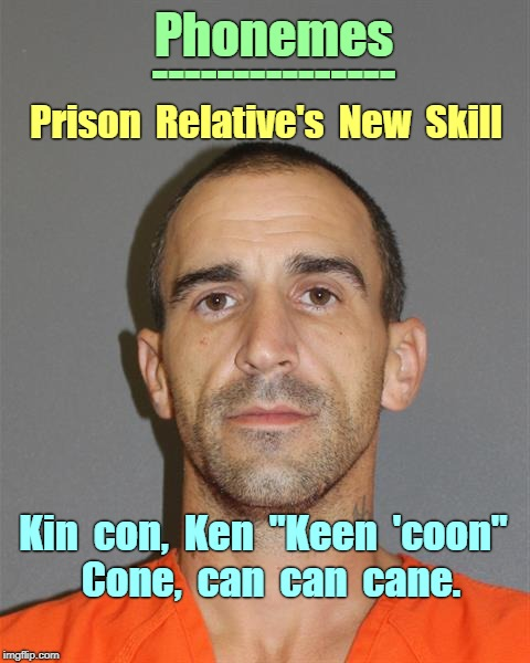 "Phonemes - What makes a Word? | Phonemes --------------- Prison  Relative's  New  Skill Kin  con,  Ken  ""Keen  'coon""  Cone,  can  can  cane. 