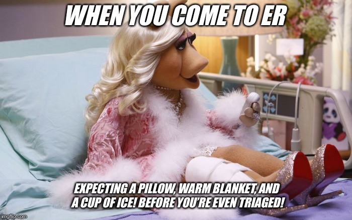 WHEN YOU COME TO ER; EXPECTING A PILLOW, WARM BLANKET, AND A CUP OF ICE! BEFORE YOU'RE EVEN TRIAGED! | image tagged in privilege | made w/ Imgflip meme maker