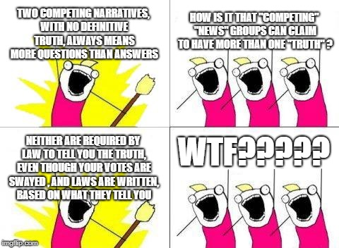 "Lightbulb moments | TWO COMPETING NARRATIVES, WITH NO DEFINITIVE TRUTH, ALWAYS MEANS MORE QUESTIONS THAN ANSWERS HOW IS IT THAT ""COMPETING"" ""NEWS"" GROUPS CAN CL 