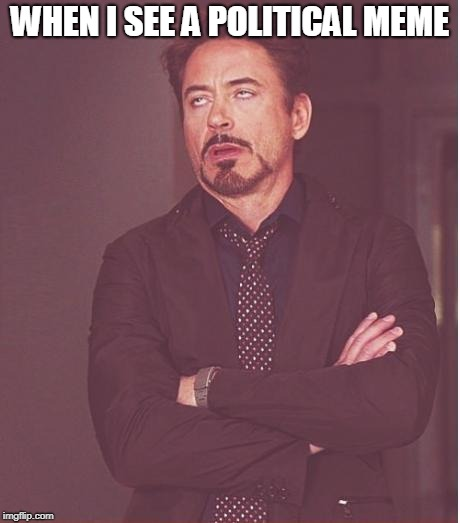 Judging ______... | WHEN I SEE A POLITICAL MEME | image tagged in memes,face you make robert downey jr,funny,politics,imgflip,imgflip users | made w/ Imgflip meme maker