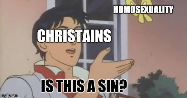 is this a pigeon | HOMOSEXUALITY CHRISTAINS IS THIS A SIN? | image tagged in is this a pigeon | made w/ Imgflip meme maker