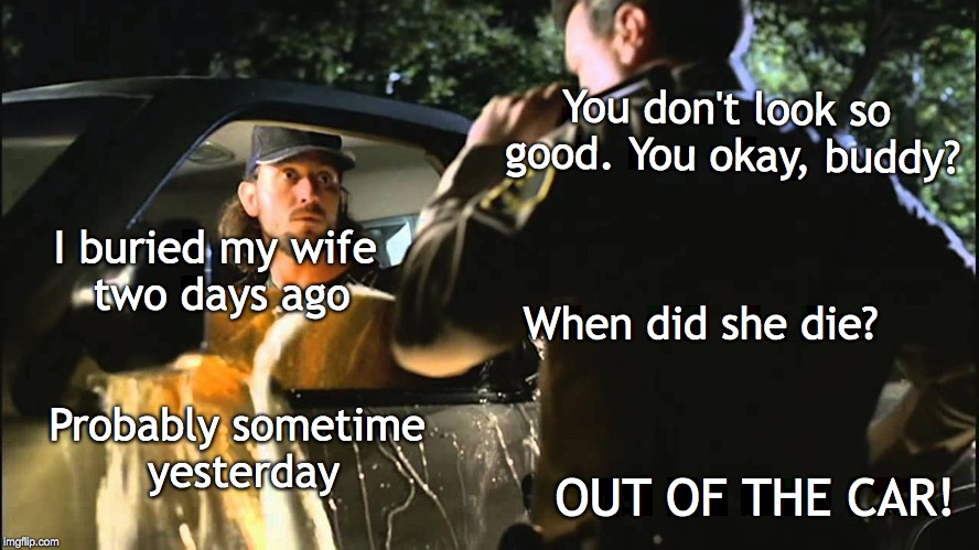 A little matter of timing | You don't look so good. You okay, buddy? I buried my wife two days ago When did she die? Probably sometime yesterday OUT OF THE CAR! | image tagged in police,traffic | made w/ Imgflip meme maker