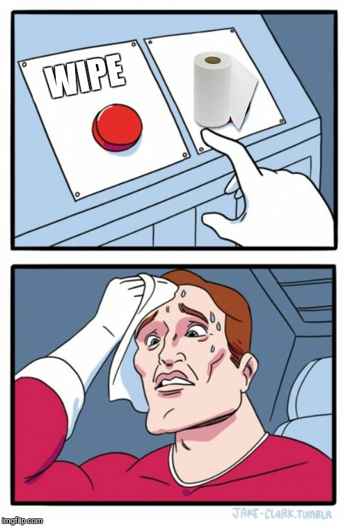 Two Buttons Meme | WIPE | image tagged in memes,two buttons | made w/ Imgflip meme maker