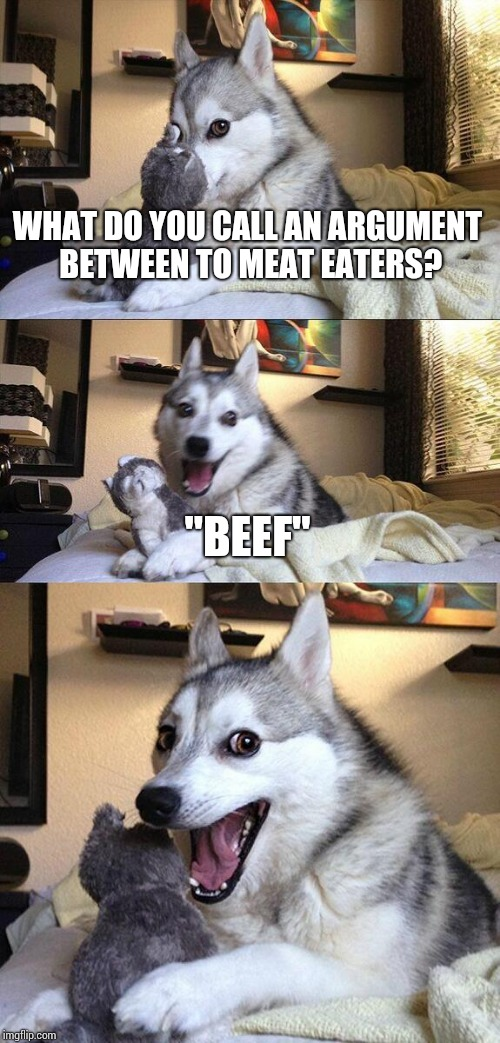 "Bad Pun Dog Meme | WHAT DO YOU CALL AN ARGUMENT BETWEEN TO MEAT EATERS? ""BEEF"" 