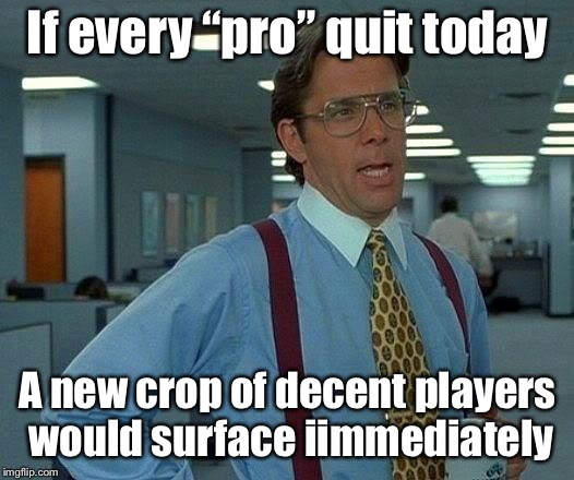 "That Would Be Great Meme | If every ""pro"" quit today A new crop of decent players would surface iimmediately 