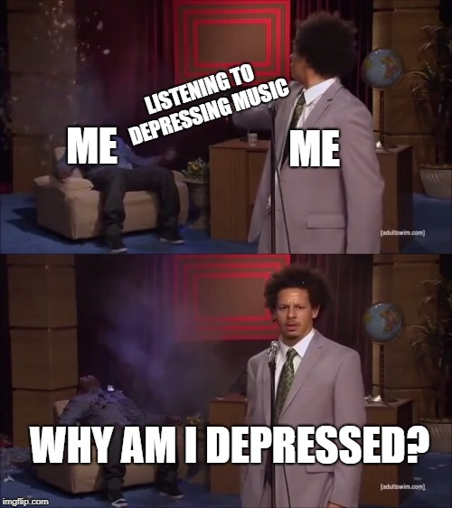 Why would they do this? | ME LISTENING TO DEPRESSING MUSIC ME WHY AM I DEPRESSED? | image tagged in why would they do this | made w/ Imgflip meme maker