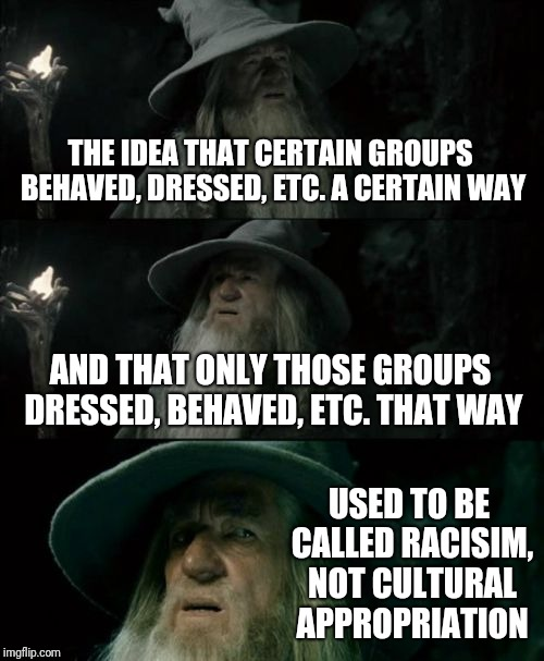 We're taking steps backwards | THE IDEA THAT CERTAIN GROUPS BEHAVED, DRESSED, ETC. A CERTAIN WAY AND THAT ONLY THOSE GROUPS DRESSED, BEHAVED, ETC. THAT WAY USED TO BE CALL | image tagged in memes,confused gandalf | made w/ Imgflip meme maker