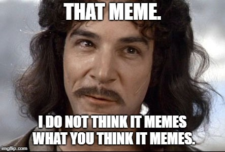 Indigo montoya |  THAT MEME. I DO NOT THINK IT MEMES WHAT YOU THINK IT MEMES. | image tagged in indigo montoya | made w/ Imgflip meme maker