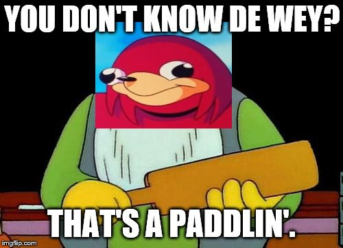 That's a paddlin' Meme | YOU DON'T KNOW DE WEY? THAT'S A PADDLIN'. | image tagged in memes,that's a paddlin' | made w/ Imgflip meme maker