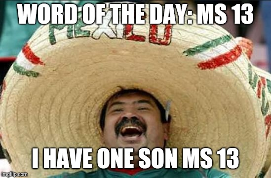 mexican word of the day | WORD OF THE DAY: MS 13 I HAVE ONE SON MS 13 | image tagged in mexican word of the day | made w/ Imgflip meme maker