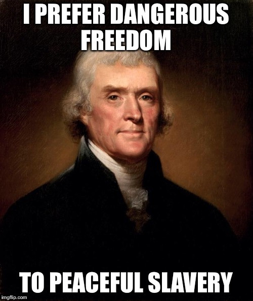 Thomas Jefferson  |  I PREFER DANGEROUS FREEDOM; TO PEACEFUL SLAVERY | image tagged in thomas jefferson | made w/ Imgflip meme maker
