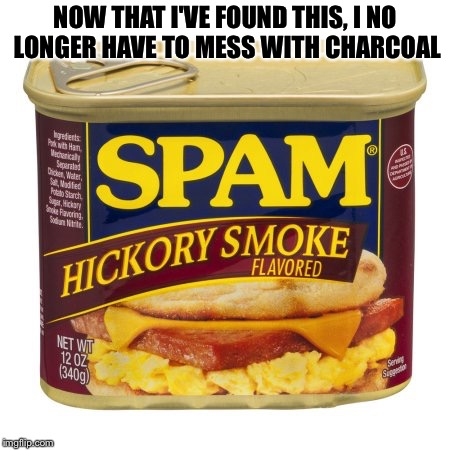 NOW THAT I'VE FOUND THIS, I NO LONGER HAVE TO MESS WITH CHARCOAL | image tagged in spam | made w/ Imgflip meme maker