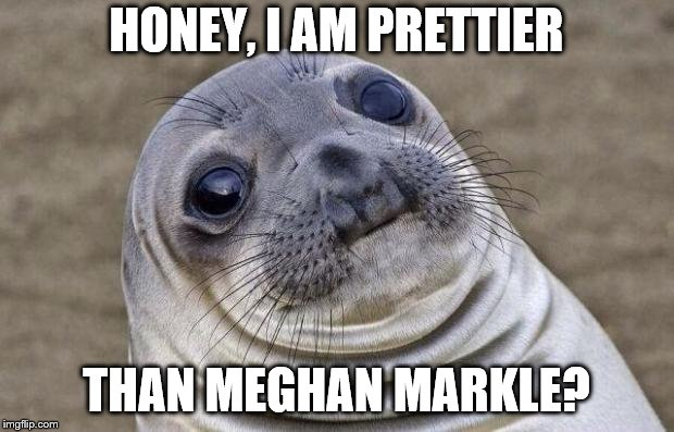 Awkward Moment Sealion Meme | HONEY, I AM PRETTIER THAN MEGHAN MARKLE? | image tagged in memes,awkward moment sealion | made w/ Imgflip meme maker