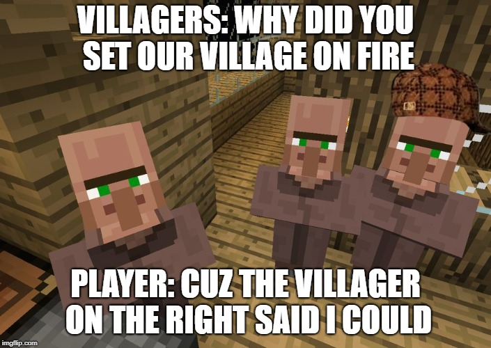 Minecraft Villagers | VILLAGERS: WHY DID YOU SET OUR VILLAGE ON FIRE PLAYER: CUZ THE VILLAGER ON THE RIGHT SAID I COULD | image tagged in minecraft villagers,scumbag,memes,fire,villager | made w/ Imgflip meme maker
