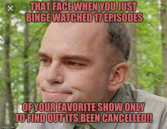 THAT FACE WHEN YOU JUST BINGE WATCHED 17 EPISODES OF YOUR FAVORITE SHOW ONLY TO FIND OUT ITS BEEN CANCELLED!! | image tagged in binge watching | made w/ Imgflip meme maker