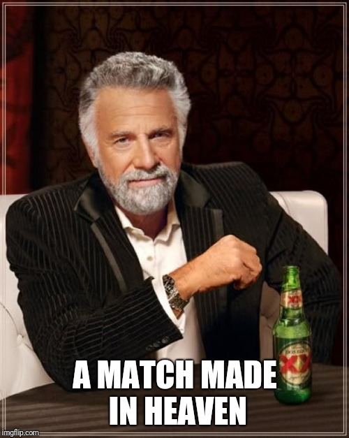 The Most Interesting Man In The World Meme | A MATCH MADE IN HEAVEN | image tagged in memes,the most interesting man in the world | made w/ Imgflip meme maker