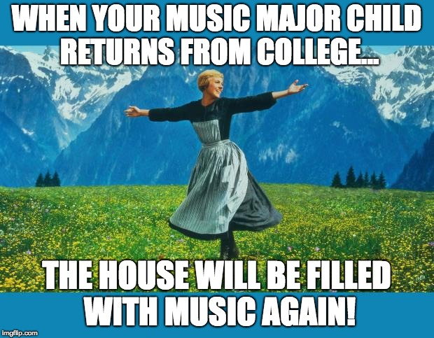 the sound of music happiness | WHEN YOUR MUSIC MAJOR CHILD RETURNS FROM COLLEGE... THE HOUSE WILL BE FILLED WITH MUSIC AGAIN! | image tagged in the sound of music happiness | made w/ Imgflip meme maker
