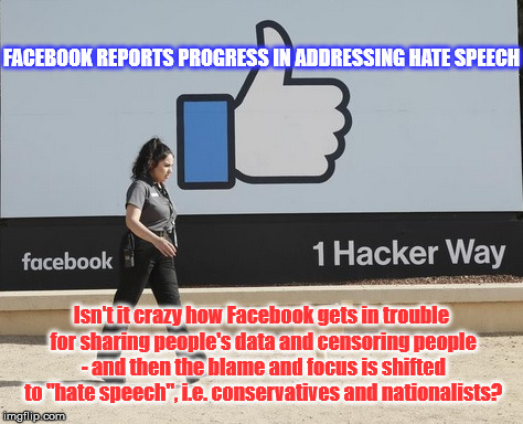 Facebook Censors | FACEBOOK REPORTS PROGRESS IN ADDRESSING HATE SPEECH Isn't it crazy how Facebook gets in trouble for sharing people's data and censoring peop | image tagged in facebook,censorship,hate speech | made w/ Imgflip meme maker