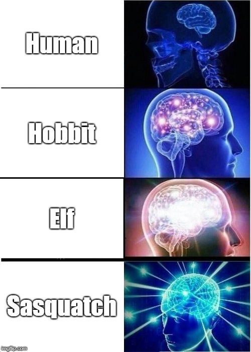 Expanding Brain | Human Hobbit Elf Sasquatch | image tagged in memes,expanding brain | made w/ Imgflip meme maker