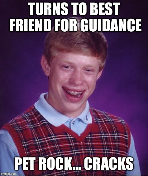 Bad Luck Brian Meme | TURNS TO BEST FRIEND FOR GUIDANCE PET ROCK... CRACKS | image tagged in memes,bad luck brian | made w/ Imgflip meme maker