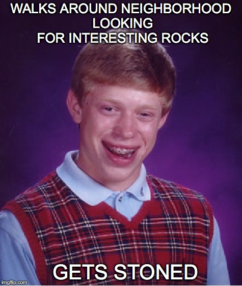 Bad Luck Brian Meme | WALKS AROUND NEIGHBORHOOD LOOKING FOR INTERESTING ROCKS GETS STONED | image tagged in memes,bad luck brian | made w/ Imgflip meme maker
