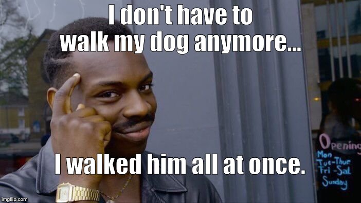 Roll Safe had a plan. Think about it. | I don't have to walk my dog anymore… I walked him all at once. | image tagged in roll safe think about it,it could work right,it could be steven wright,oh yes it is,steven wright,douglie | made w/ Imgflip meme maker