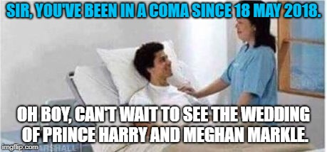 Late | SIR, YOU'VE BEEN IN A COMA SINCE 18 MAY 2018. OH BOY, CAN'T WAIT TO SEE THE WEDDING OF PRINCE HARRY AND MEGHAN MARKLE. | image tagged in sir,you've been in a coma | made w/ Imgflip meme maker