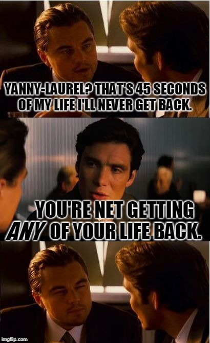 Yeah, I KNOW what people mean when they say this. But still... LOL | YANNY-LAUREL? THAT'S 45 SECONDS OF MY LIFE I'LL NEVER GET BACK. YOU'RE NET GETTING       OF YOUR LIFE BACK. ANY | image tagged in memes,inception,you're not getting any of it back,nixieknox | made w/ Imgflip meme maker