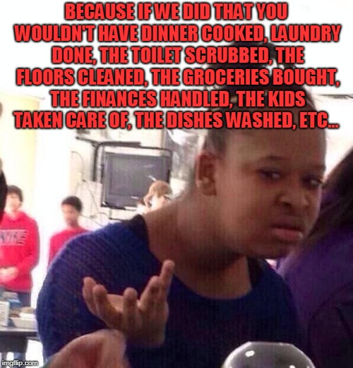Black Girl Wat Meme | BECAUSE IF WE DID THAT YOU WOULDN'T HAVE DINNER COOKED, LAUNDRY DONE, THE TOILET SCRUBBED, THE FLOORS CLEANED, THE GROCERIES BOUGHT, THE FIN | image tagged in memes,black girl wat | made w/ Imgflip meme maker