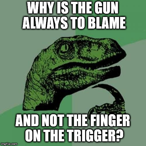 Philosoraptor Meme | WHY IS THE GUN ALWAYS TO BLAME AND NOT THE FINGER ON THE TRIGGER? | image tagged in memes,philosoraptor | made w/ Imgflip meme maker