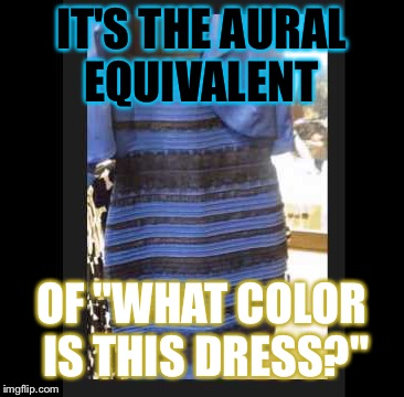 "IT'S THE AURAL EQUIVALENT OF ""WHAT COLOR IS THIS DRESS?"" 