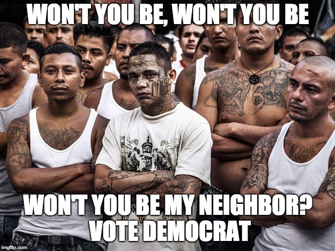 WON'T YOU BE, WON'T YOU BE WON'T YOU BE MY NEIGHBOR? VOTE DEMOCRAT | image tagged in ms-13 dreamers daca | made w/ Imgflip meme maker