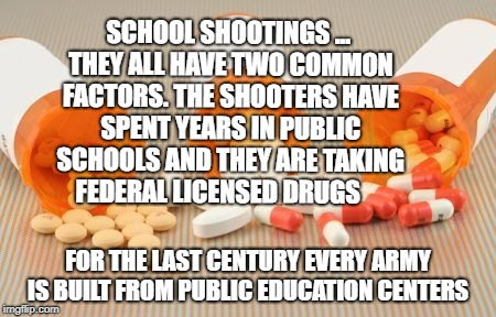 SCHOOL SHOOTINGS ... THEY ALL HAVE TWO COMMON FACTORS. THE SHOOTERS HAVE SPENT YEARS IN PUBLIC SCHOOLS AND THEY ARE TAKING FEDERAL LICENSED  | image tagged in pills | made w/ Imgflip meme maker