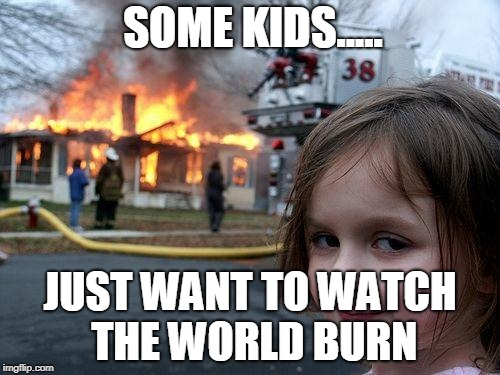 Disaster Girl | SOME KIDS..... JUST WANT TO WATCH THE WORLD BURN | image tagged in memes,disaster girl | made w/ Imgflip meme maker