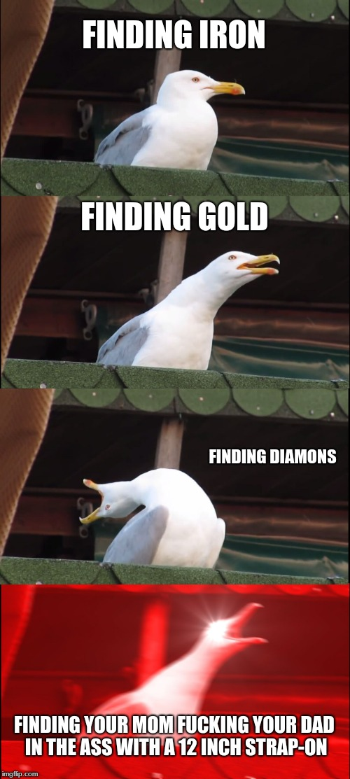 Inhaling Seagull Meme | FINDING IRON FINDING GOLD FINDING DIAMONS FINDING YOUR MOM F**KING YOUR DAD IN THE ASS WITH A 12 INCH STRAP-ON | image tagged in memes,inhaling seagull | made w/ Imgflip meme maker