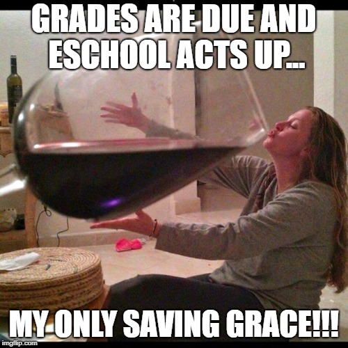 Wine Drinker | GRADES ARE DUE AND ESCHOOL ACTS UP... MY ONLY SAVING GRACE!!! | image tagged in wine drinker | made w/ Imgflip meme maker