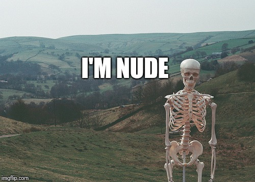 Skeleton vacation | I'M NUDE | image tagged in skeleton vacation | made w/ Imgflip meme maker