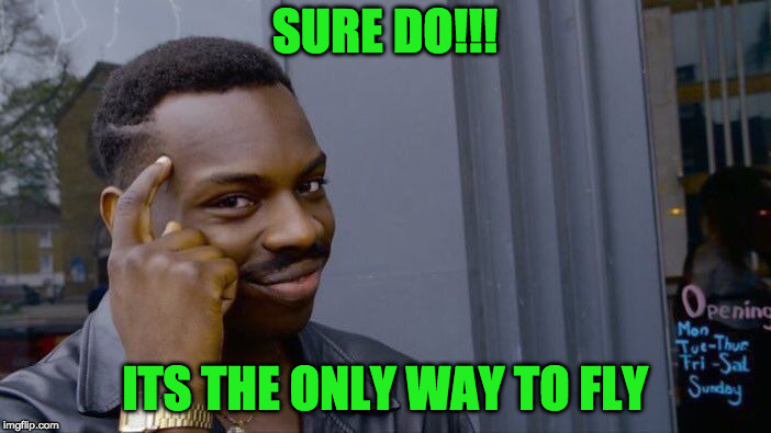 Roll Safe Think About It Meme | SURE DO!!! ITS THE ONLY WAY TO FLY | image tagged in memes,roll safe think about it | made w/ Imgflip meme maker