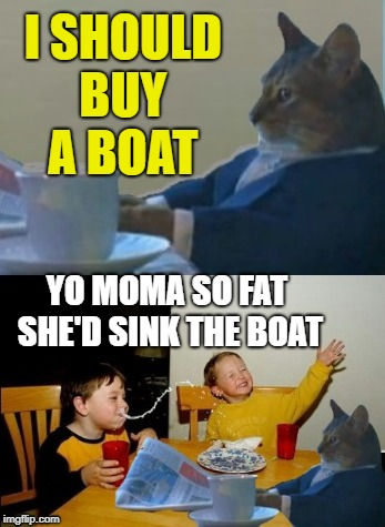 Boat Cat | I SHOULD BUY A BOAT YO MOMA SO FAT SHE'D SINK THE BOAT | image tagged in funny memes,i should buy a boat cat,yo mamas so fat | made w/ Imgflip meme maker